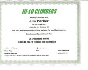 Hi-Lo Climbers certificate