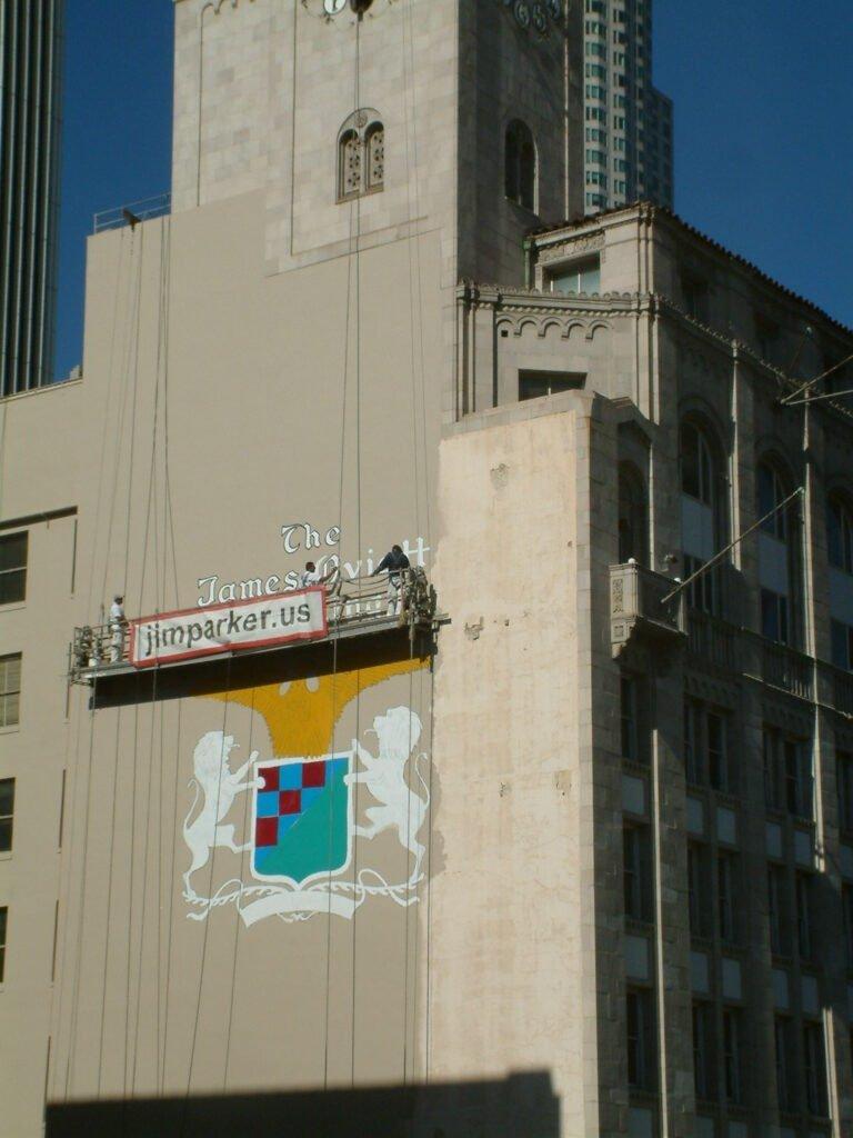 Oviatt Building - Re-Painting Oviatt Crest