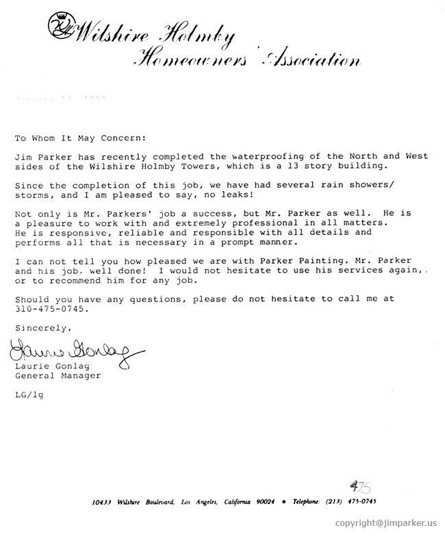 Wilshre Holmby HOA reference letter