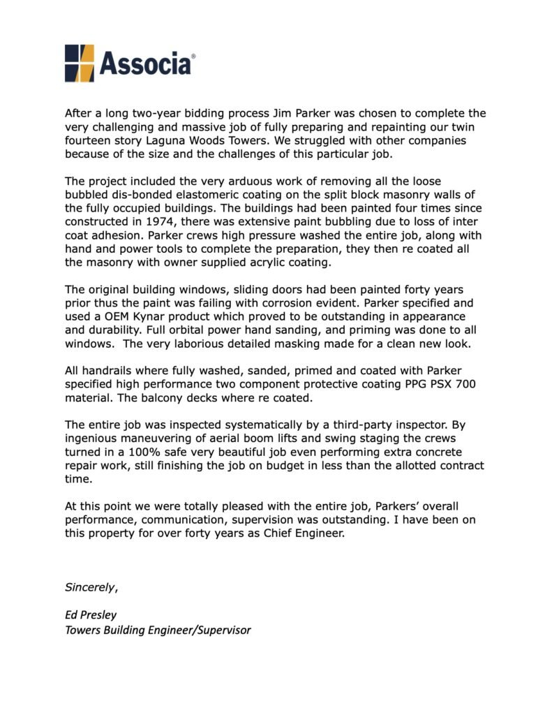 Associa reference letter for Jim Parker Painting