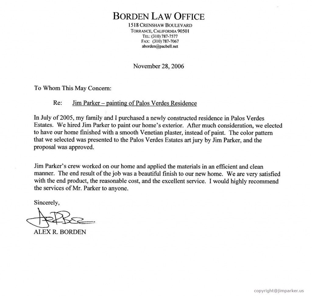 Borden Law Office reference letter