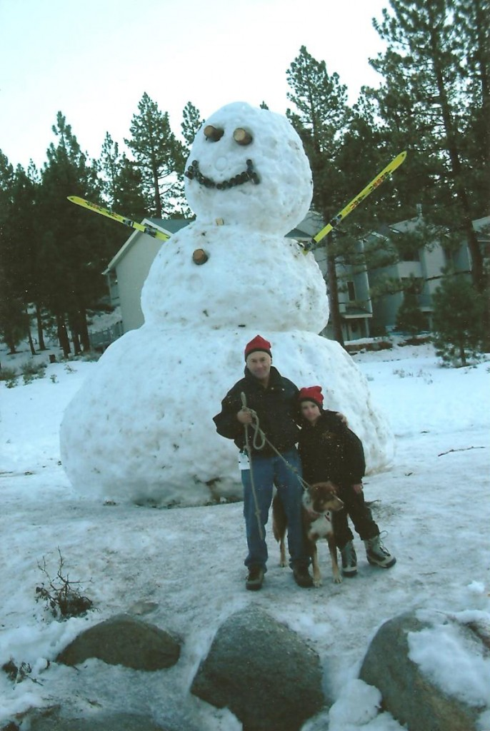 Jim Parkewr with son and snowman