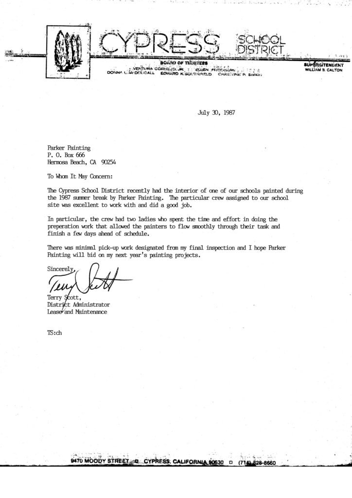 Cypress School District painting reference letterCypress School District painting referance letter