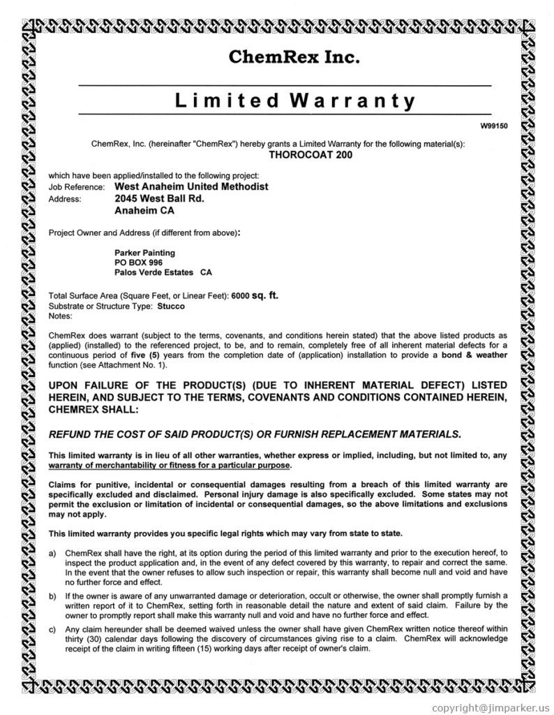West Anaheim Methodist Written Labor and Material Warranties