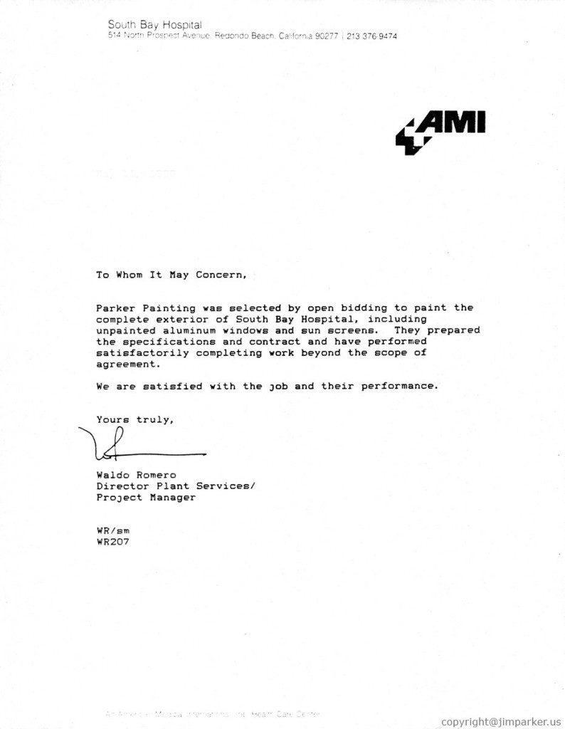 AMI South Bay Hospital reference letter