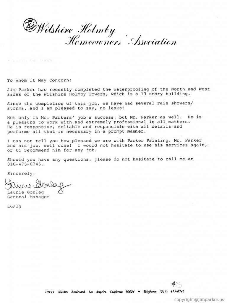Wilshire Holmbly Homeowners Assoc. reference letter
