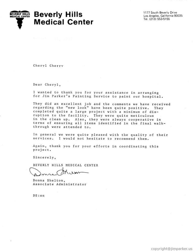 Beverly Hills Medical Center reference letter