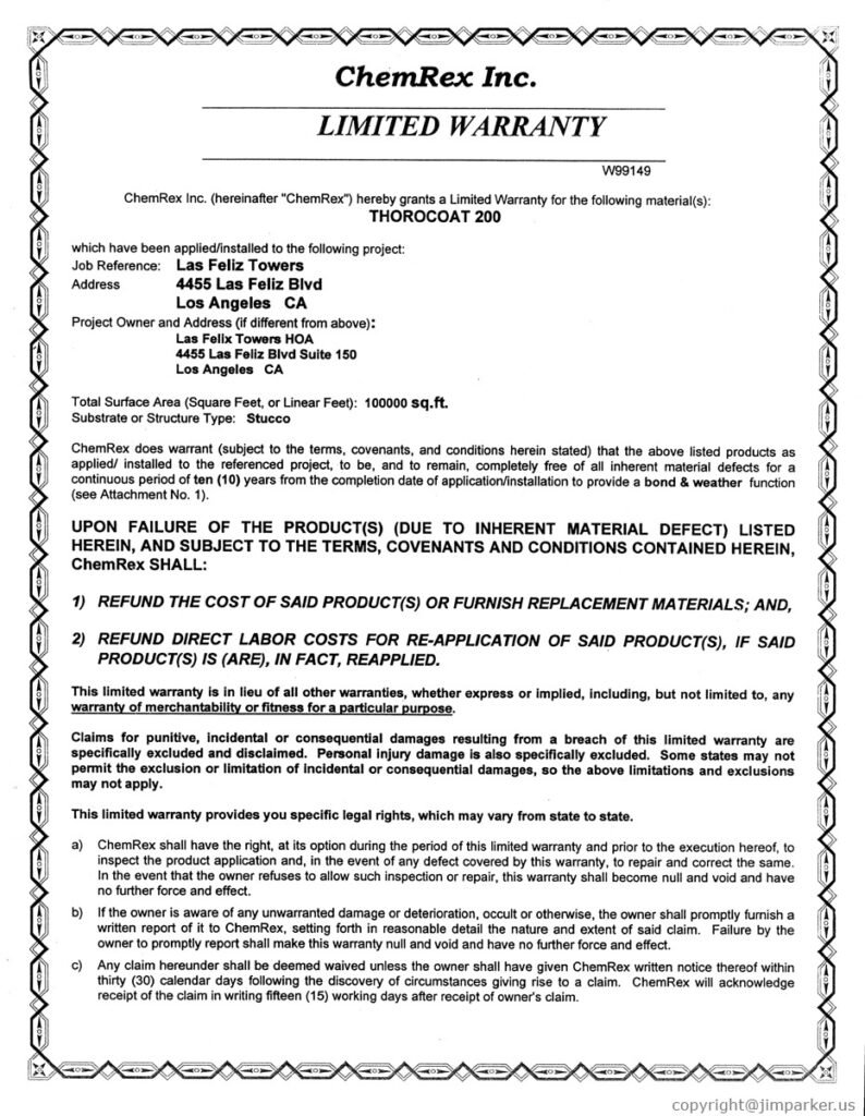 Los Feliz Towers Written Labor and Material Warranties