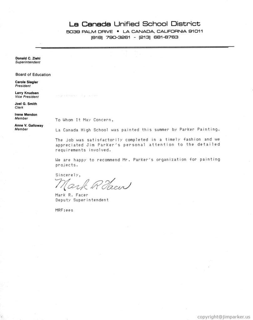 La Canada Unified School District Business Referrals