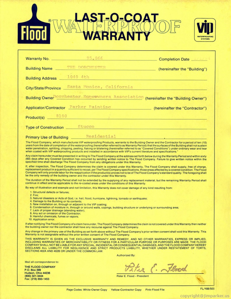 Written Labor and Material Warranties
