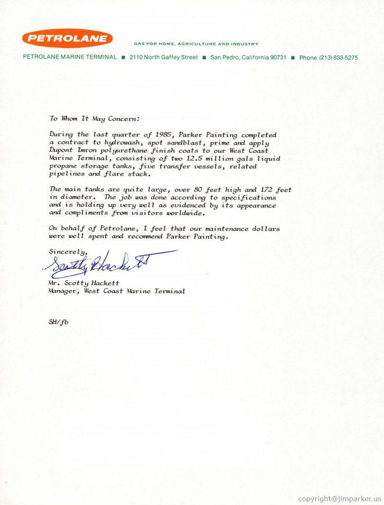 Petrolane Marine reference letter