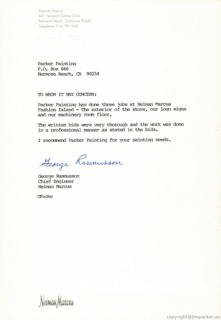 Neiman Marcus reference letter