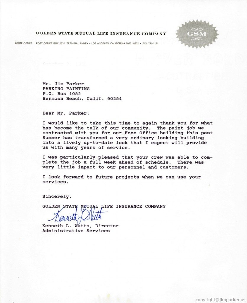 Golden State Mutual Life Ins reference letter