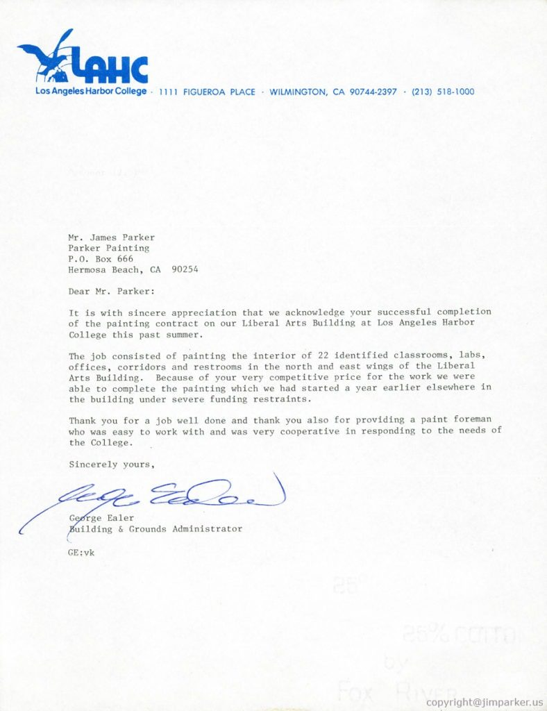 Los Angeles Harbor College reference letter