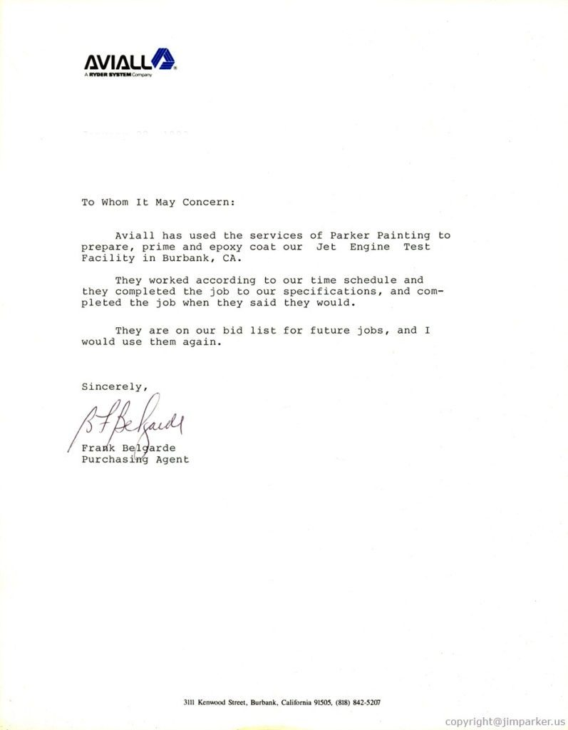 Aviall reference letter