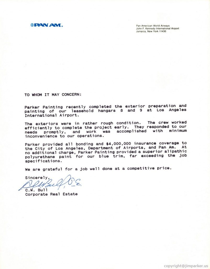 Pan AM reference letter