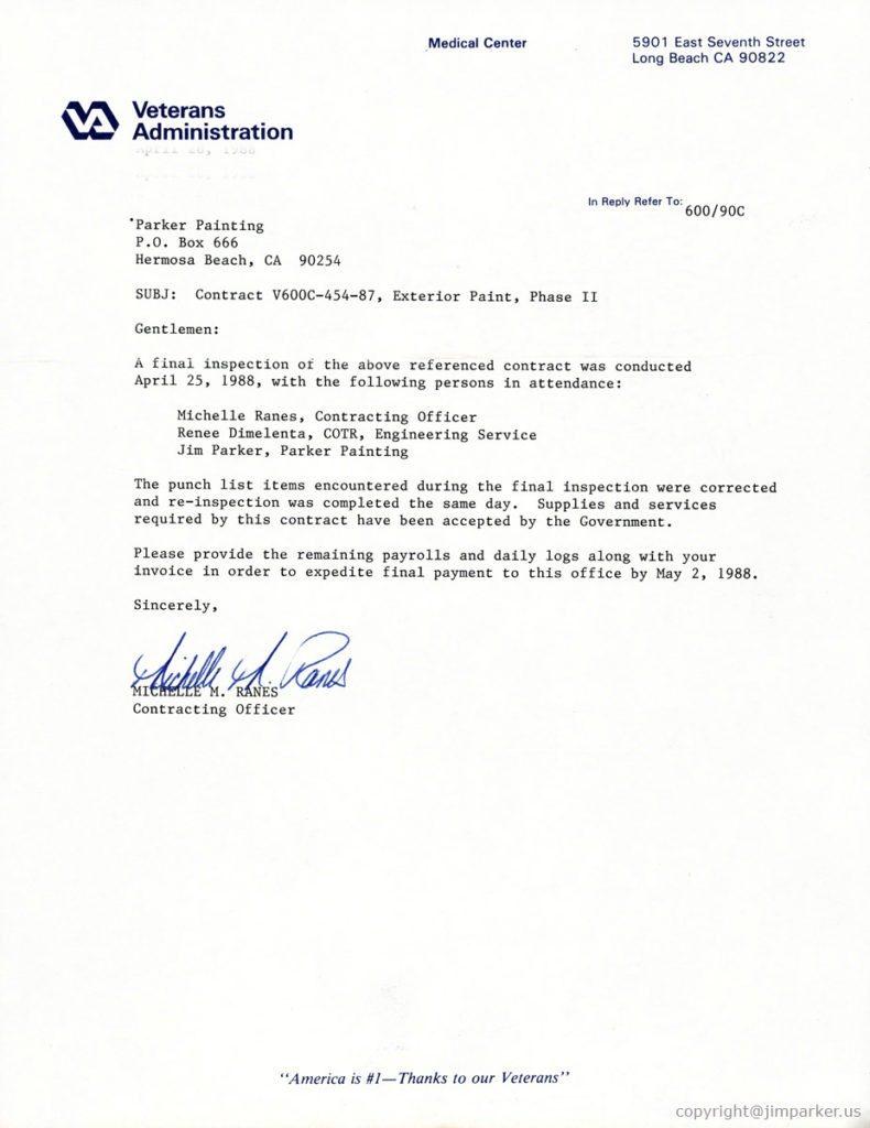 Veterans Administration refernce letter