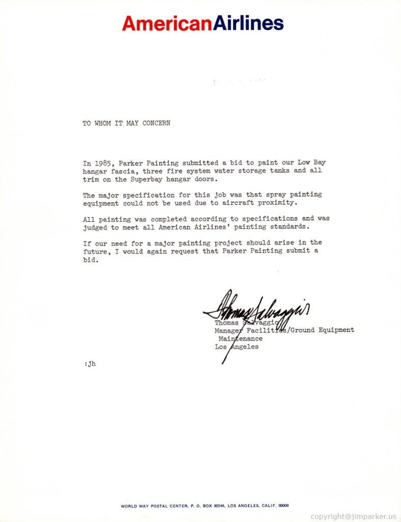 American Airlines reference letter