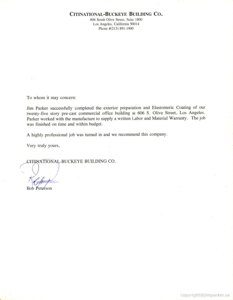 Citinational Buckeye Building Business Referrals Letter