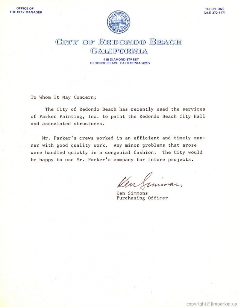 City of Redondo Beach reference letter