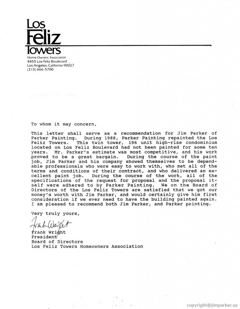 Los Feliz Towers reference letter