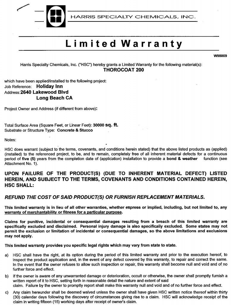 Holiday Inn Written Labor and Material Warranties
