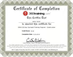 OSHA 30 Hour Construction Industry Outreach training certificate
