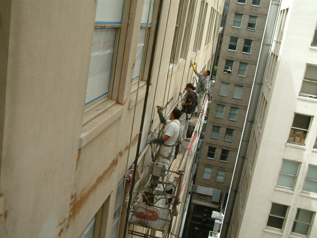 Oviatt building - Spall repair - Windows masked