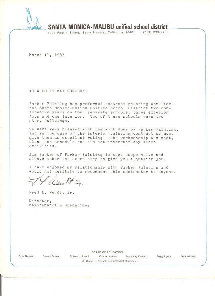 Santa Monica Malibu Unified School District reference letter